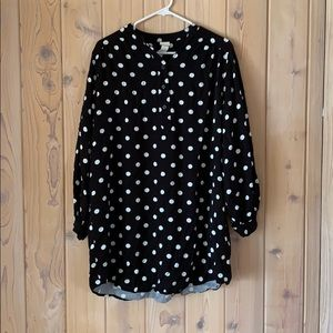 H&M 100% Viscose Blk/White Polka Dot Shirt Dress•M